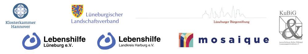 Logos von Klosterkammer  Hannover, dem  Lüneburgischen Landschaftsverband, der  Lüneburger Bürgerstiftung und  den Lebenshilfevereinen e.V. Lüneburg-Harburg, sowie KuBiG e.V.